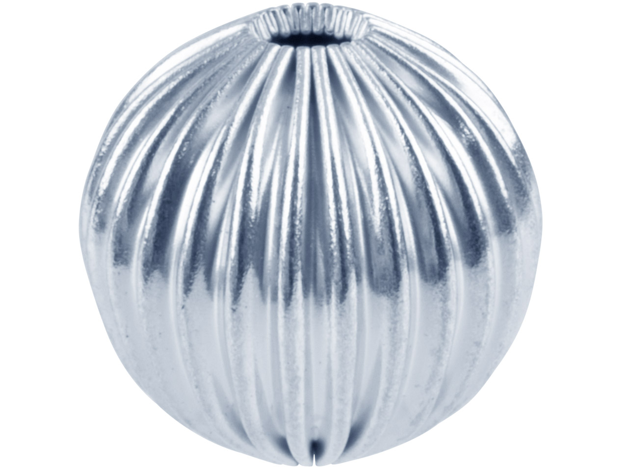 Silver Plated Corrugated Round     Beads 10mm, 2 Hole, Pack of 6