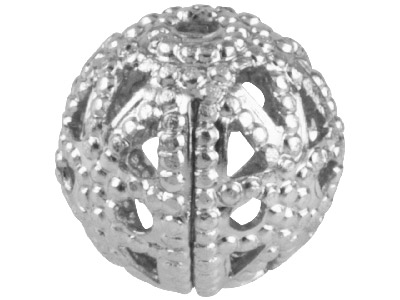 Pack of 10 8.0mm Round Filigree Beads Silver Plated