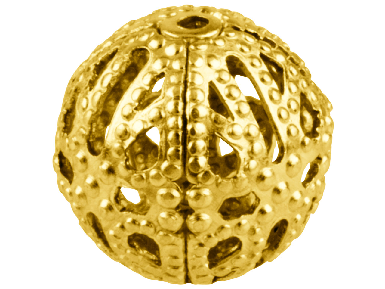 Gold Plated Filigree Beads 10mm    Round Pack of 10