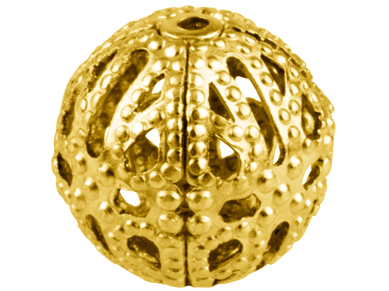 Gold Plated Filigree Beads 12mm    Round Pack of 10