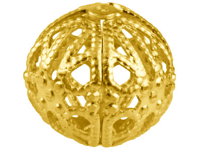 Gold Plated Filigree Beads 14mm    Round Pack of 6