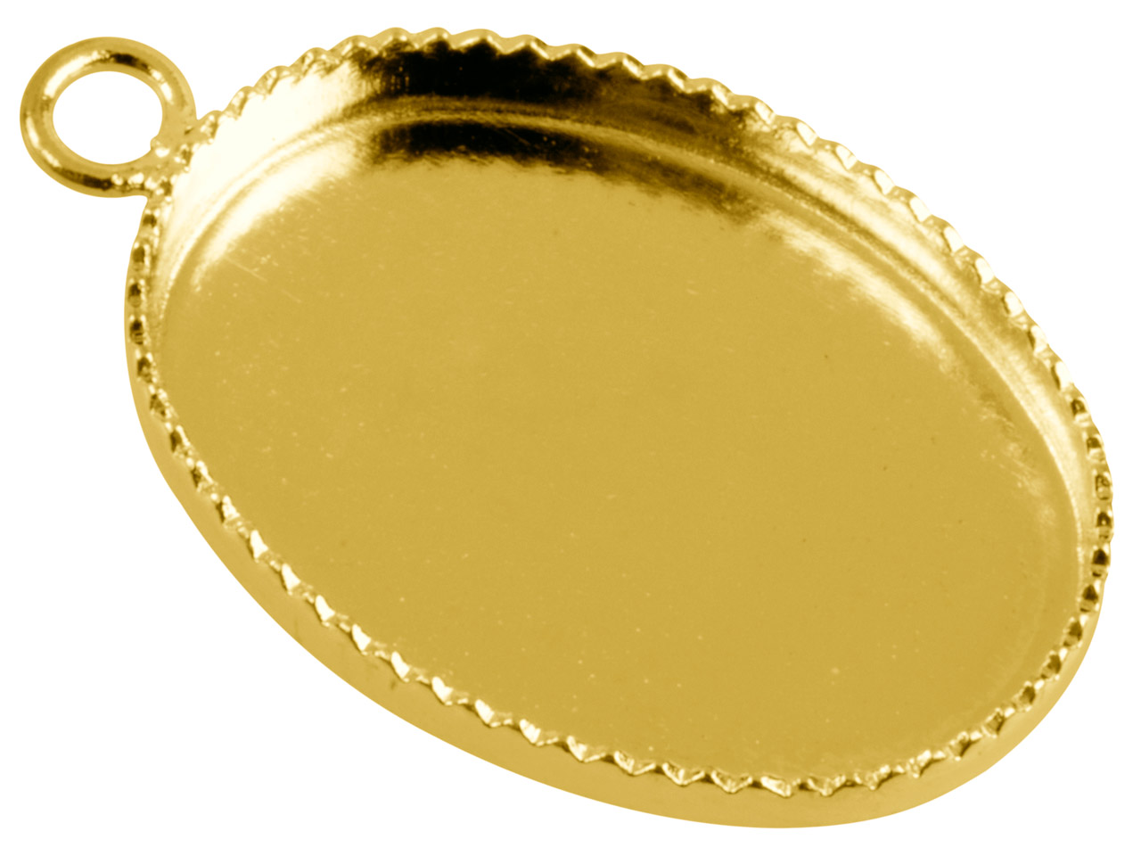 Gold Plated Oval Millgrain Edge     Pendant Setting 18x13mm, Pack of 10