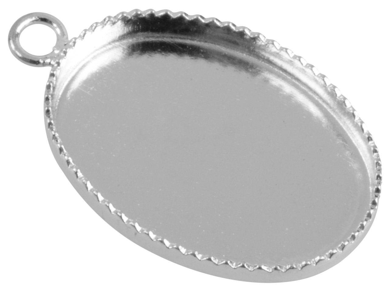Silver Plated Oval Millgrain Edge   Pendant Setting 18x13mm, Pack of 10
