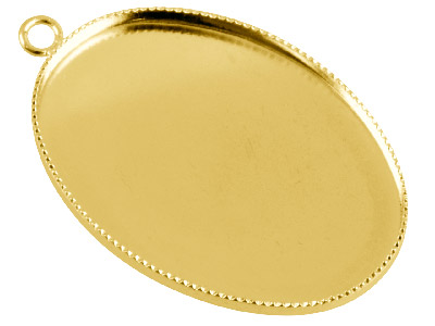 Gold Plated Oval Millgrain Edge     Pendant Setting 25x18mm, Pack of 10