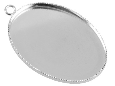 Silver Plated Oval Millgrain Edge   Pendant Setting 25x18mm, Pack of 10