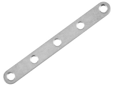 Pack of 25 5 Hole Spacer Bars Silver Plated