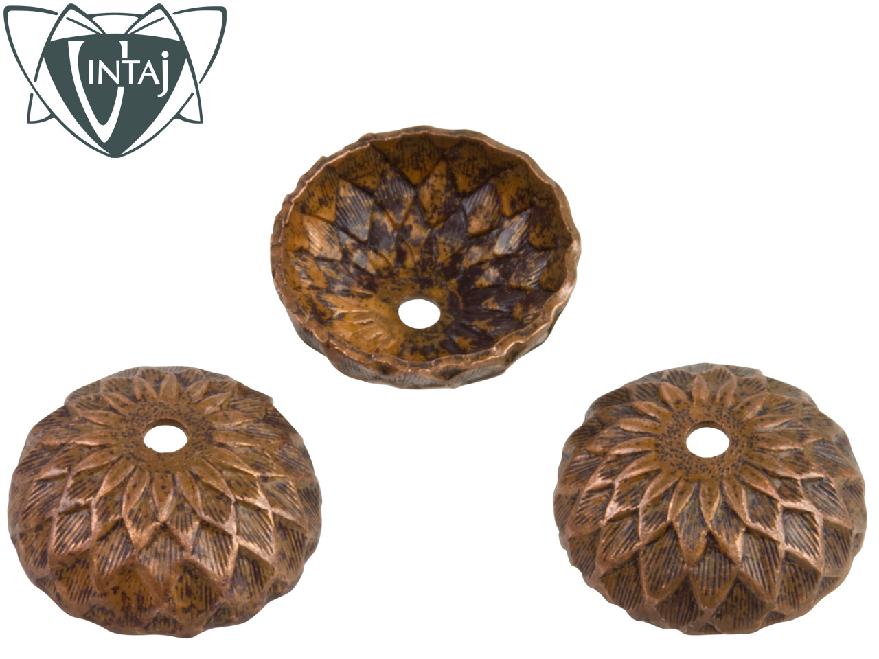 Vintaj Artisan Copper Acorn Bead Cap 12.5mm Pack of 3