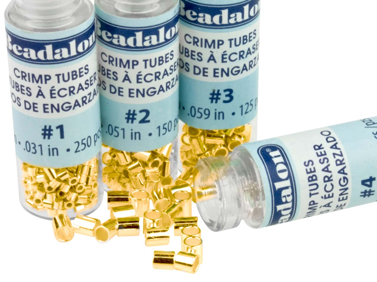 Base Metal Crimp Bead Variety Set  1-4 Gold Plated Beadalon