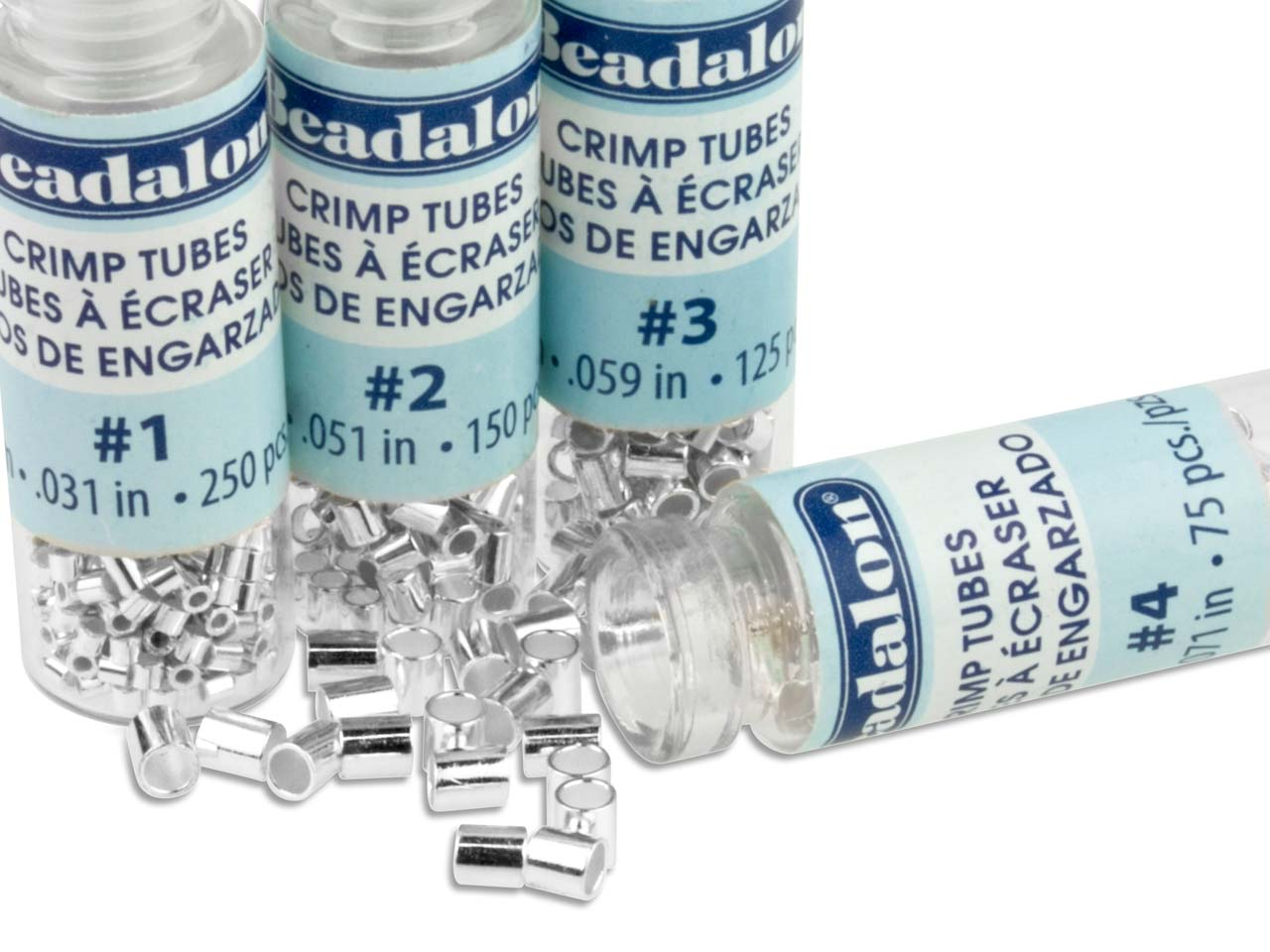 Base Metal Crimp Tube Variety Set  1-4 Silver Plated Beadalon