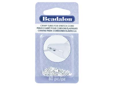 Beadalon Silver Plated Crimp Tubes  For Stretch Cord Fits 0.8mm Stretch Cord Pack of 80