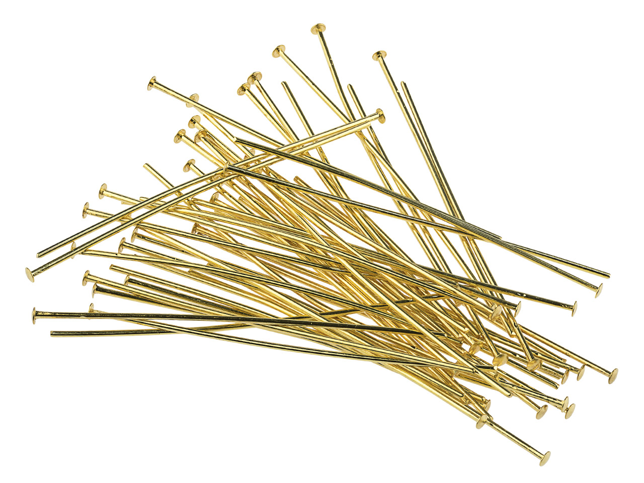 Gold Plated Head Pins 50mm         Pack of 50