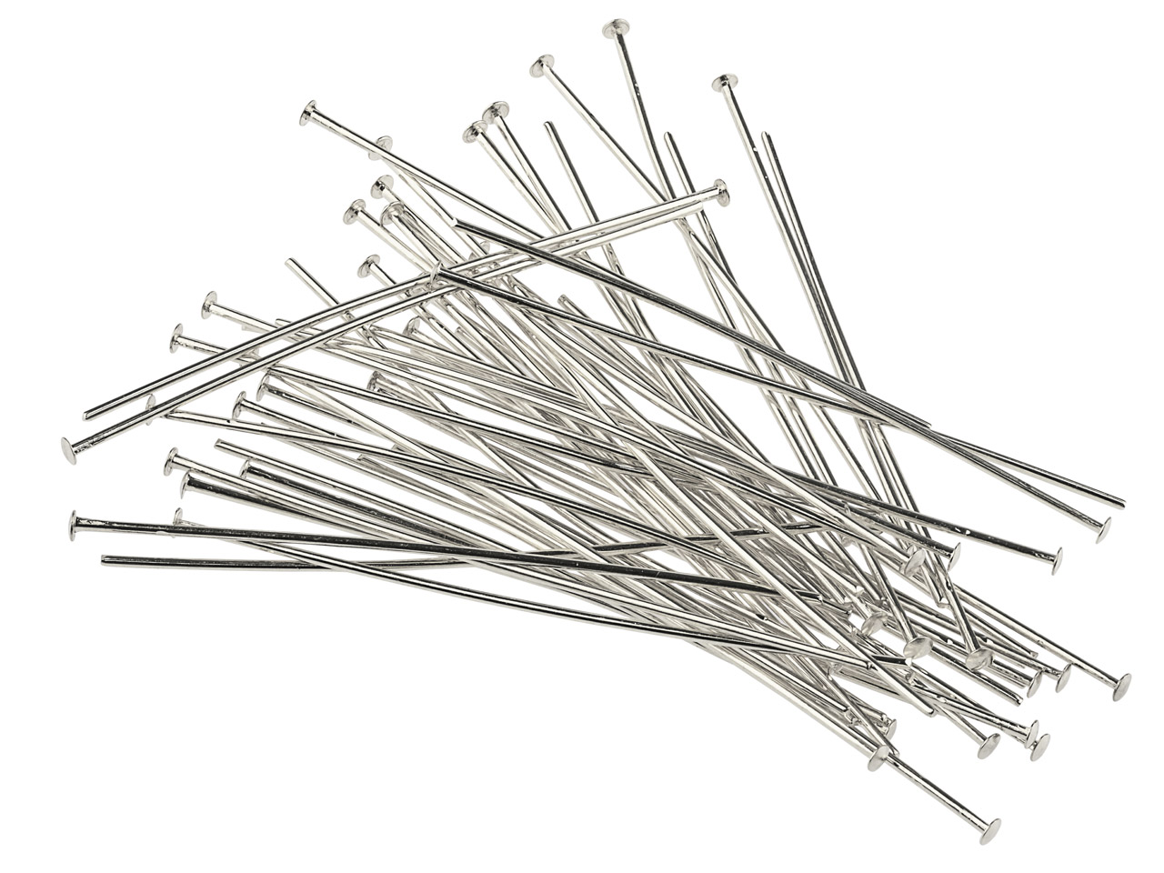 Silver Plated Head Pins 50mm       Pack of 50