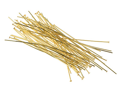 Gold Plated Head Pins 75mm         Pack of 50
