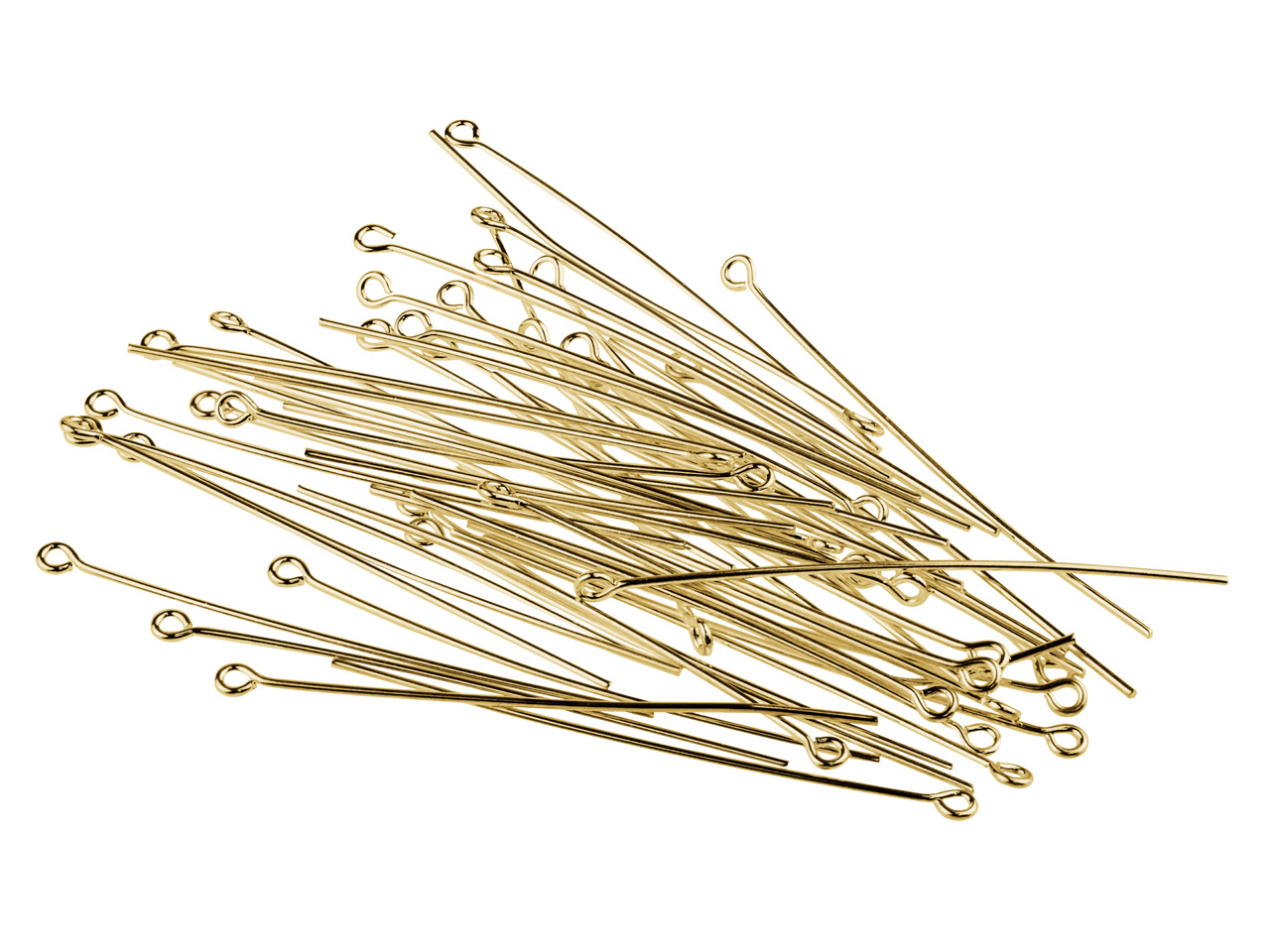 Gold Plated Eye Pins 50mm          Pack of 50