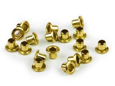 Beadsmith Ez-eyelets 332 X 332 Hollow Brass Pack of 100,