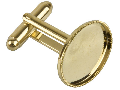 Pack of 6 Cufflink With Millgrain Cup Gold Plated 13 X 18mm Oval Cup