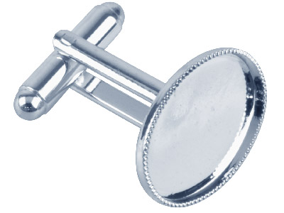Pack of 6 Cufflink With Millgrain Cup Silver Plated 18ct X 13mm Oval Cup