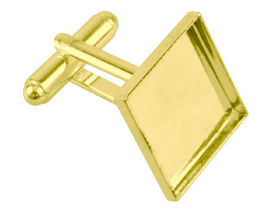 Gold Plated Cuff Link 17mm Square  Cup Pack of 6