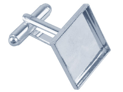 Silver Plated Cufflink 17mm Square Cup Pack of 6