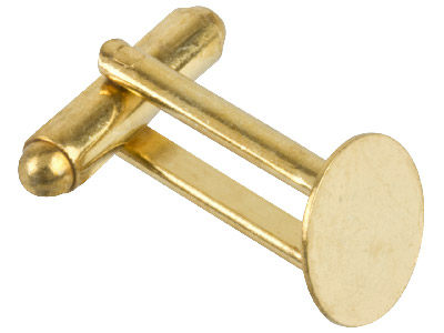 Pack of 6 Cufflink With Flat Pad Gold Plated 11mm Diameter Pad