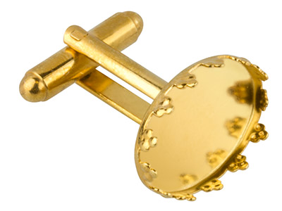 Gold-Plated-Oval-Cuff-Link-With----Cl...
