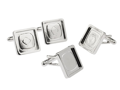 Rhodium Plated Square Heavy Weight Cuff Link 16mm Pack of 4