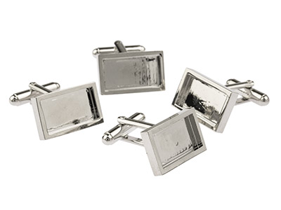 Rhodium Plated Oblong Heavy Weight Cufflink 18x10mm Pack of 4