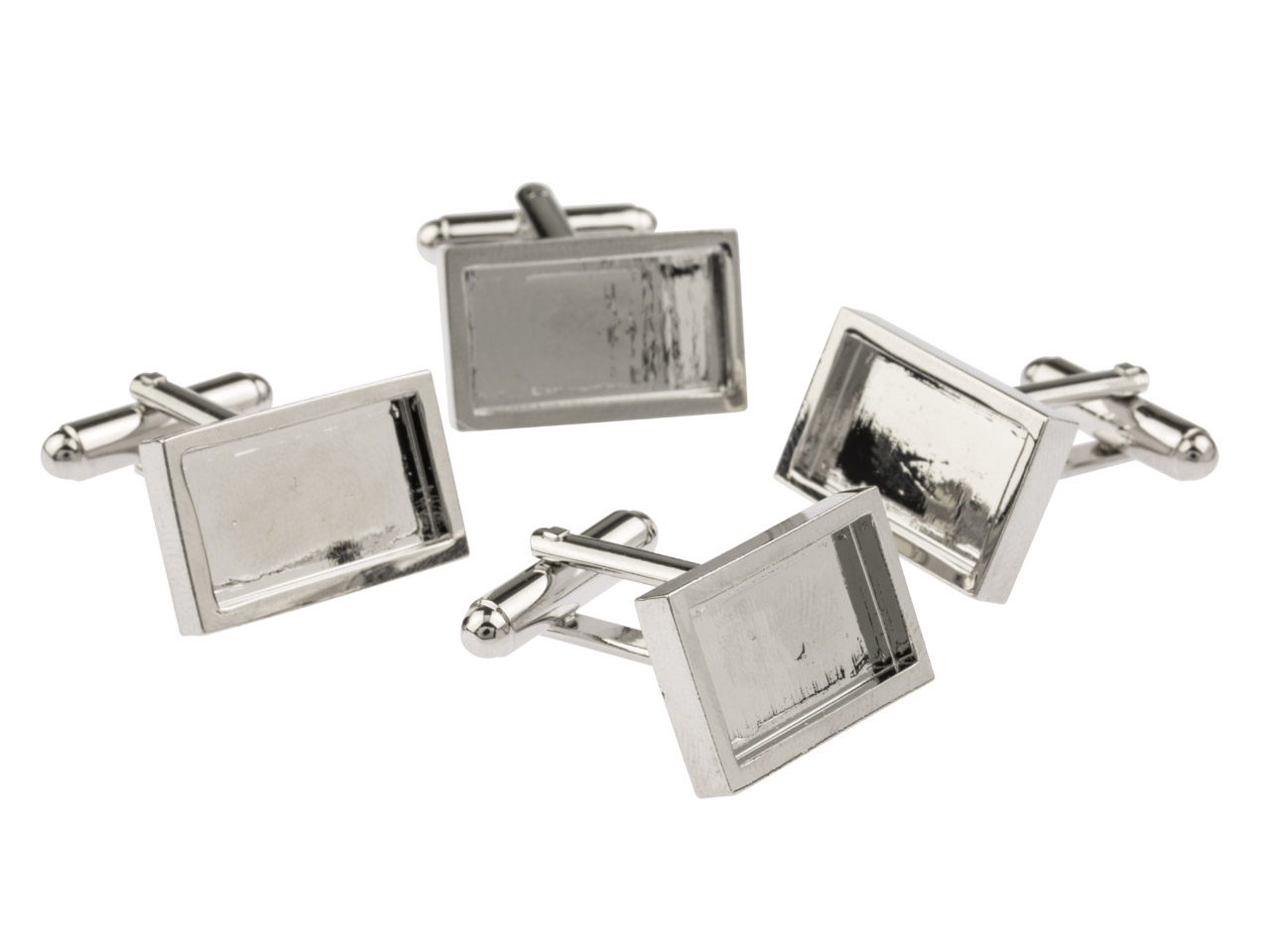 Rhodium Plated Oblong Heavy Weight Cuff Link 18x10mm Pack of 4