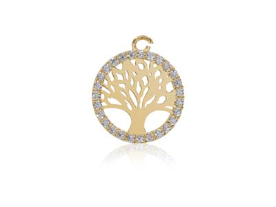 9ct Yellow Gold Tree of Life       Cubic Zirconia Set 8mm
