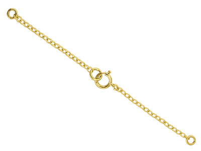9ct Yellow Gold 1.8mm Trace Safety Chain For Necklace With Bolt Ring  7.0cm2.8