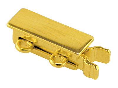 9ct Yellow Gold 2 Row Rectangular  Bracelet Slide Clasp, 3 X 10mm