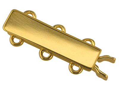 9ct Yellow Gold 3 Row Rectangular  Bracelet Slide Clasp, 3 X 16mm