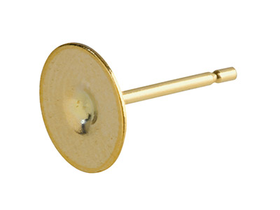 9ct Yellow Gold Peg And Flat Disc  307, 7mm Disc