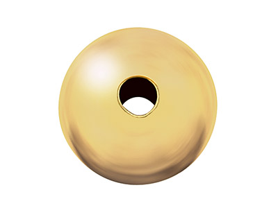 9ct Yellow Gold Plain Round 2 Hole Bead 8.0mm Heavy Weight