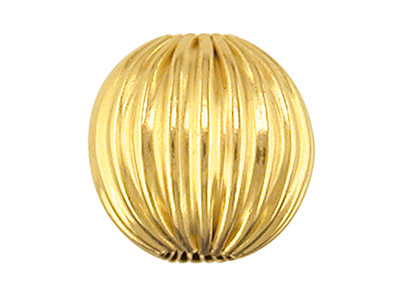 9ct Yellow Gold Corrugated Round 2 Hole Beads 3.0mm