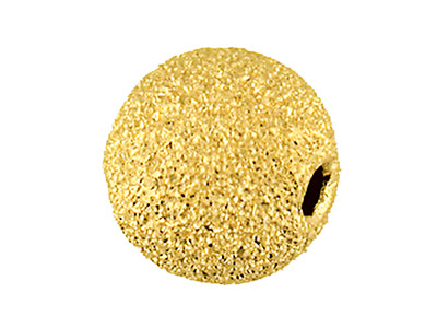 9ct Yellow Gold 2 Hole Bead 4mm    Lasercut Frostedsparkle Finish    Heavy Weight