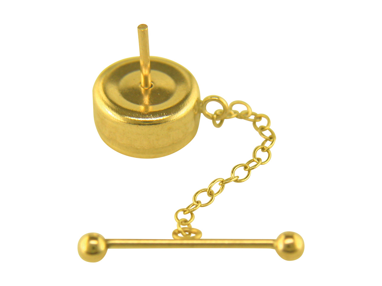 9ct Yellow Tie Tack, 10mm With     Chain And Bar
