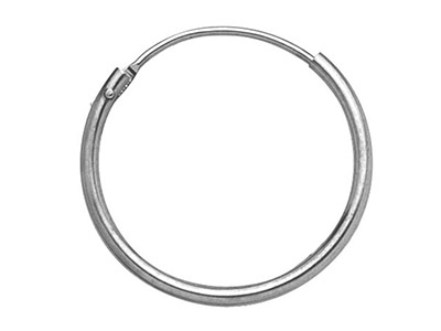 9ct White Gold Creole Hoop Earrings 11mm