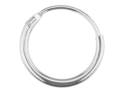 9ct White Gold Creole Hoop Earrings 13mm