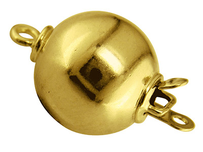 18ct Yellow Gold Plain Ball Clasp, 8mm
