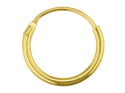 18ct Yellow Creole Hoop Earrings,  11mm