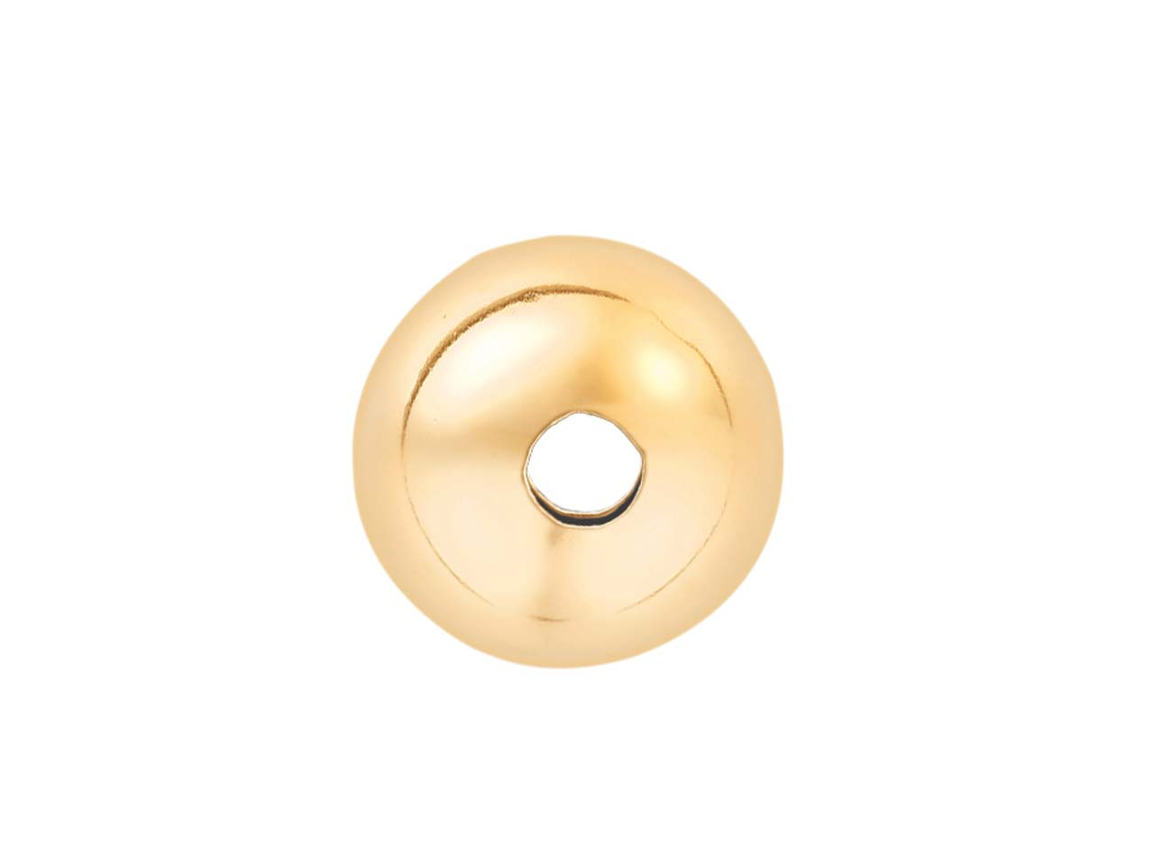 18ct Yellow Gold Plain Round 2 Hole Beads 10mm Ultralight