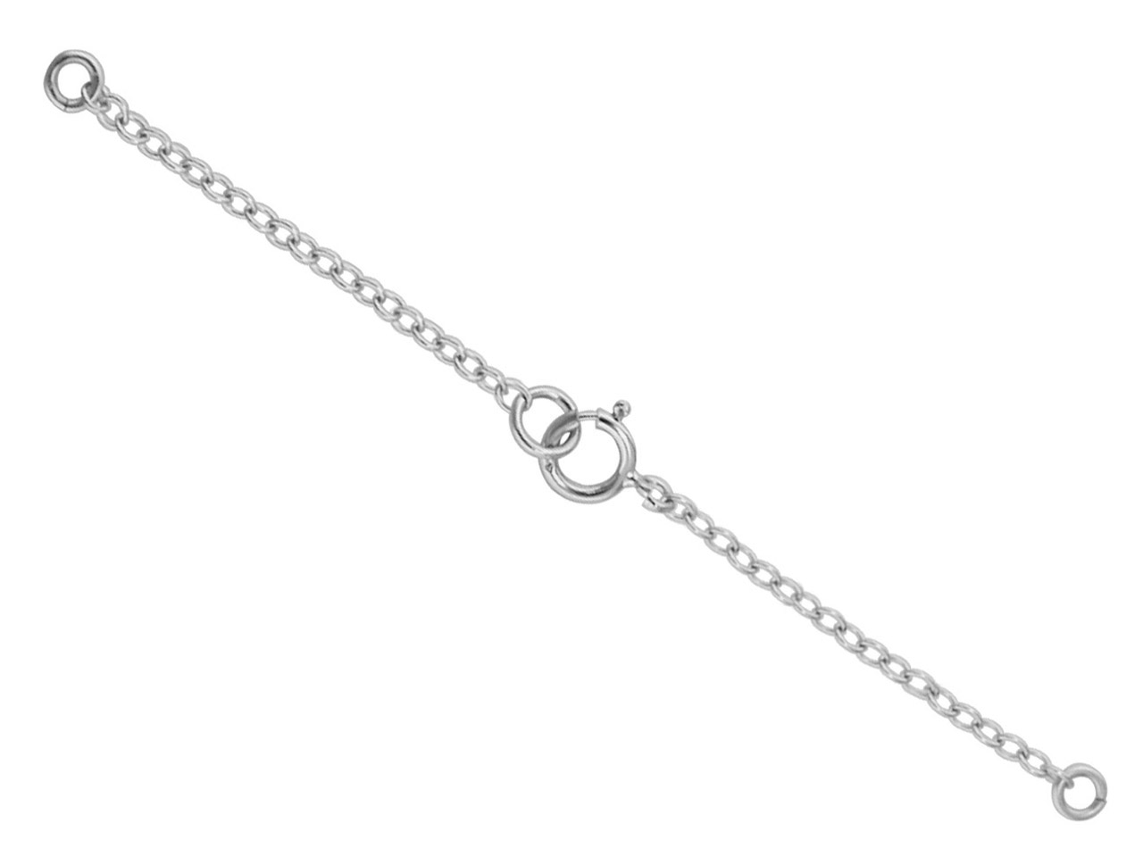 18ct White Gold 1.7mm Trace Safety Chain For Necklace With Bolt Ring  6.5cm/2.6