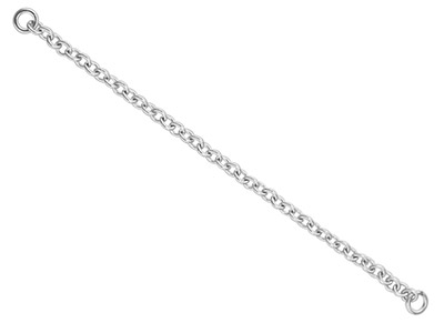 18ct White Gold 1.0mm Trace Safety Chain For Bracelet 6.0cm2.4
