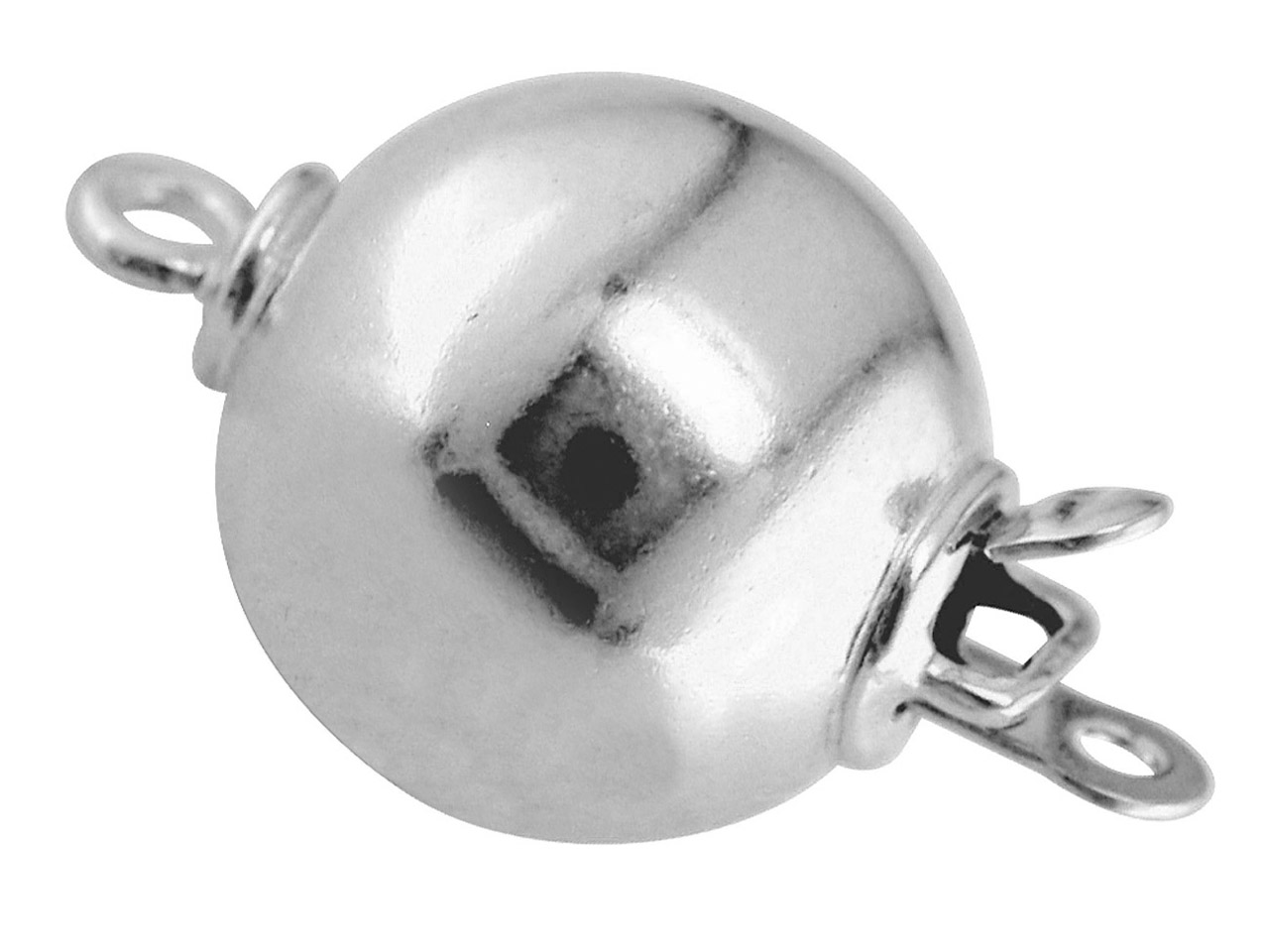 18ct White Plain Ball Clasp 10.0mm