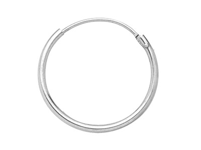18ct White Creole Hoop Earrings,   11mm