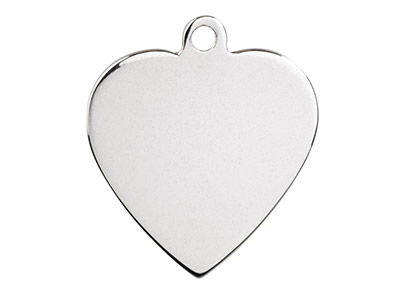 Sterling Silver Stamped Heart      Pack of 5 With Ring 15mm