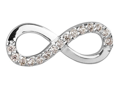 Sterling Silver Cubic Zirconia Set Infinity Connector 20mm