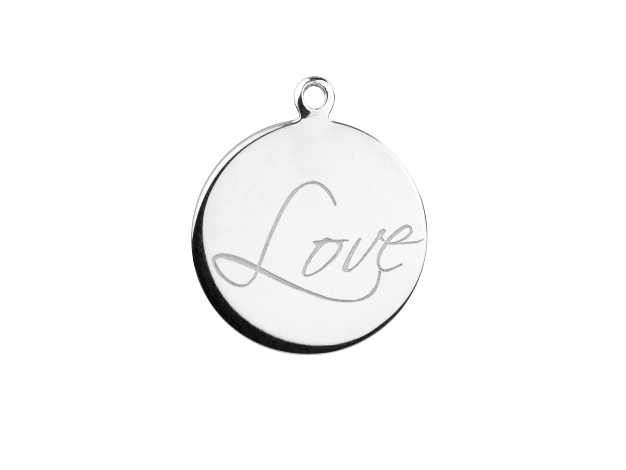 Sterling Silver Round Disc,        Engraved Love 16mm