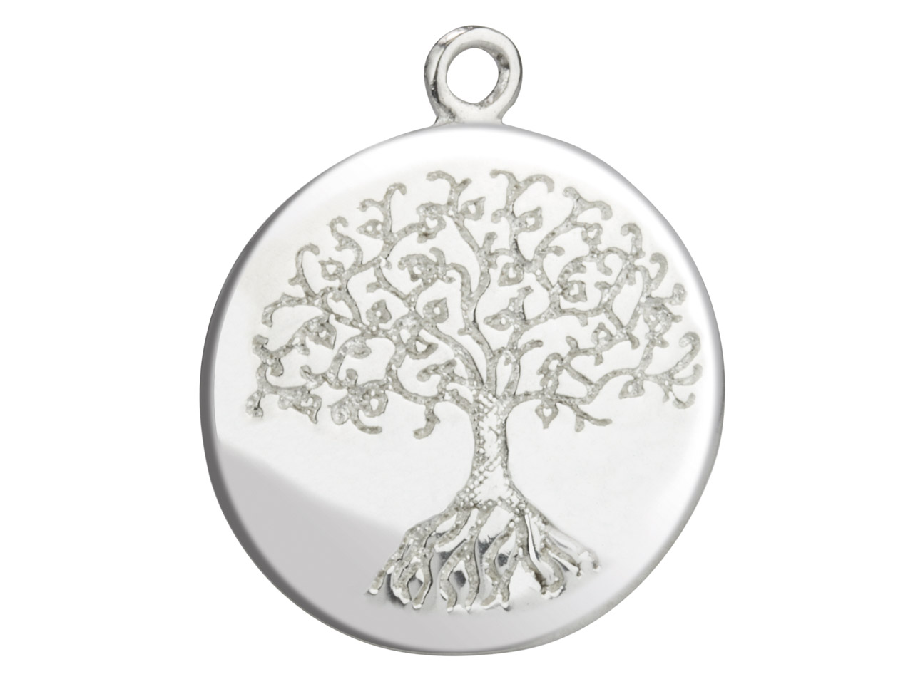 Sterling Silver Tree Of Life Etched Disc Drop 15mm Pack of 5